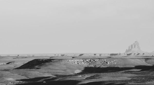 Shiprock Desert Scene B&W by Anthony M Farber