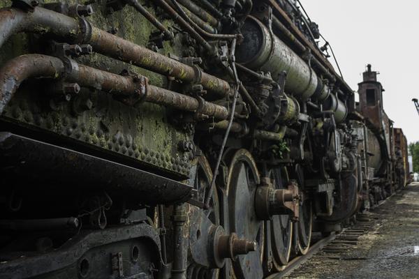 Old Train in the Yard by Ashley ML Studios
