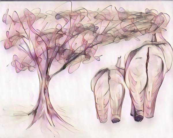 Éléphant et arbre  by Biji sylvie faucher