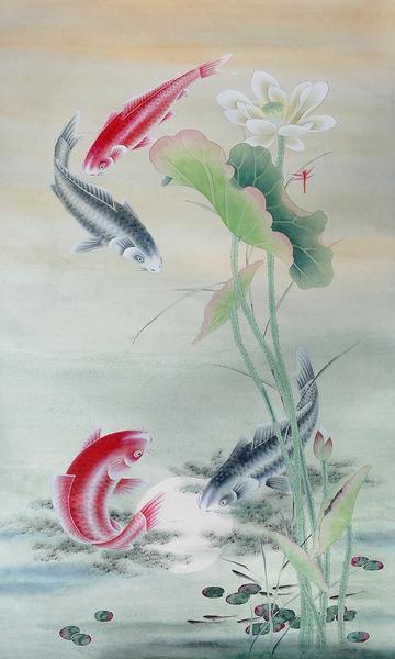 Koi Fish with Lotus - Cally by Birgit Moldenhauer
