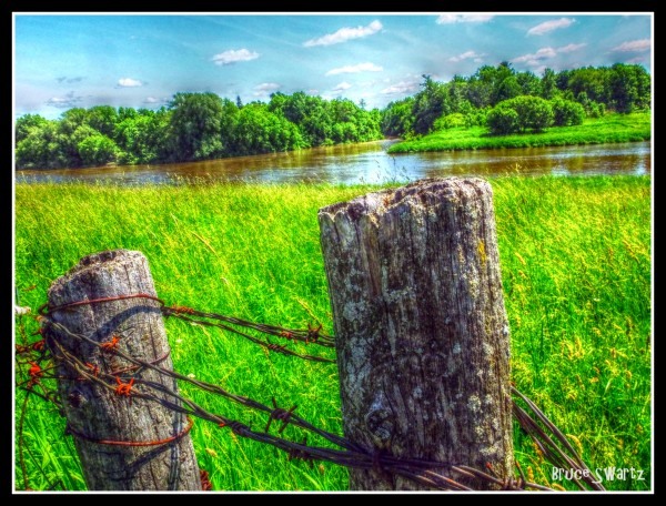 Barbed Wire Fence & HDR by Bruce Swartz