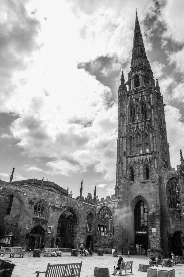 Coventry Cathedral Black and White by Bunnoffee Photography