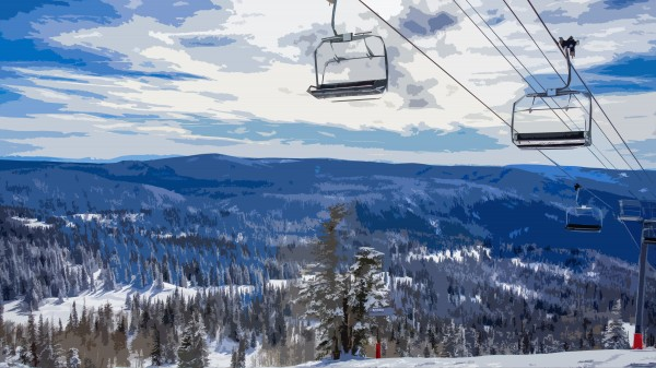 Winter chairlift by By the C Media