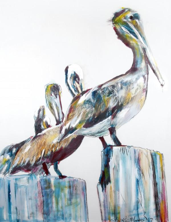 Bold Louisiana Pelicans in the Fog Digital Download