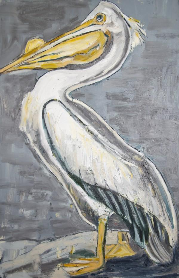 Louisiana White Pelican with Metallic Silver Digital Download