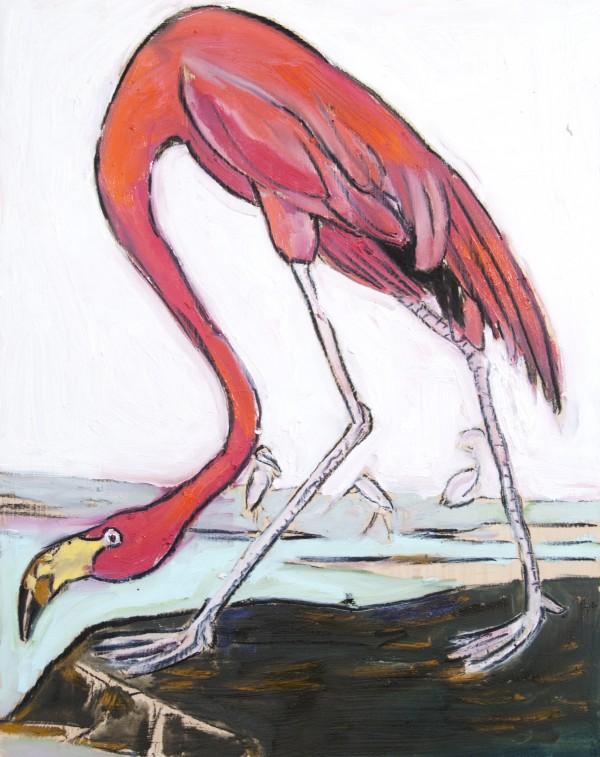 Louisiana Flamingo Study on Wood Digital Download