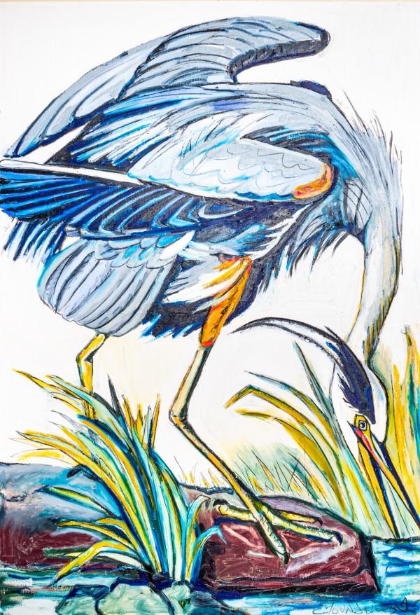 Louisiana Blue Heron Catching Fish- Bright Digital Download