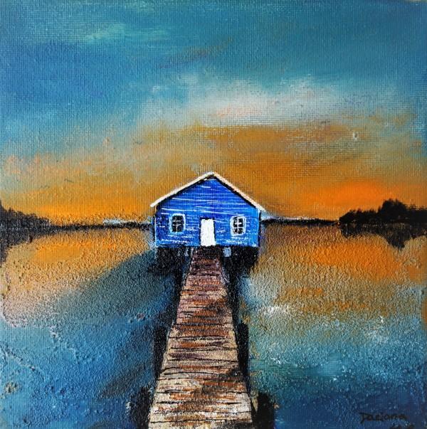 cabane au coucher de soleil by Daciana