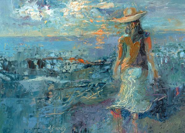 Woman on a Twilight Beach by Daryl Urig