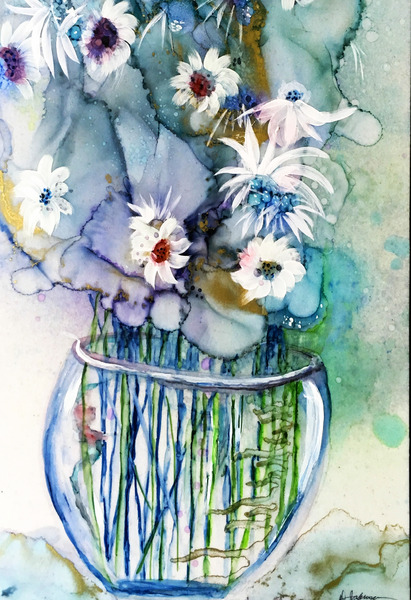 Blue Floral by Denise Johnson