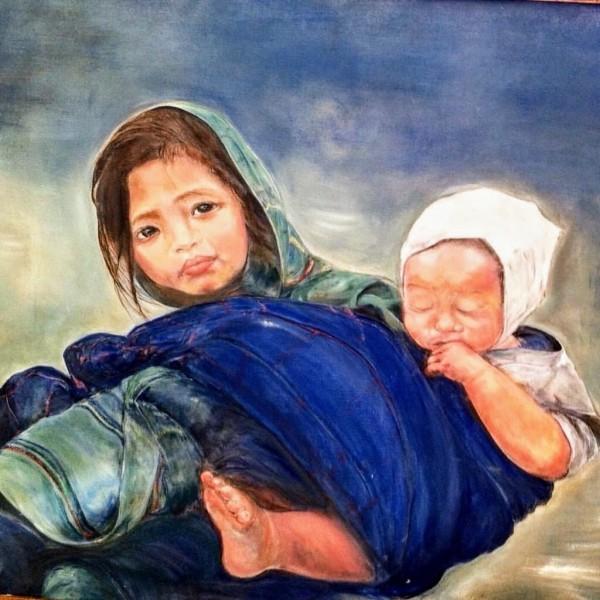 Child raising a Child by  Claire Vines Artist
