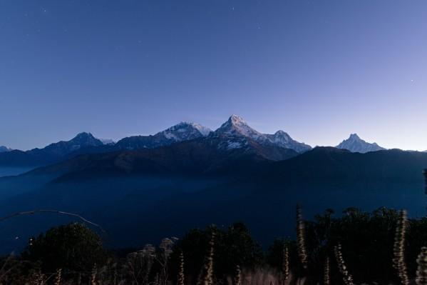 Annapurna mountain range at dawn by Em Campos