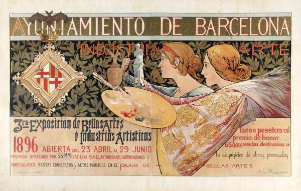Exposicion De Bellas Artes E Industrias Artisticas De Barcelona Vintage Poster Vintage Poster