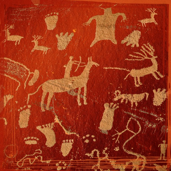 Red Infographics of Petroglyphs on newspaper rock at Canyonlands national park Utah USA  by Francois Lariviere