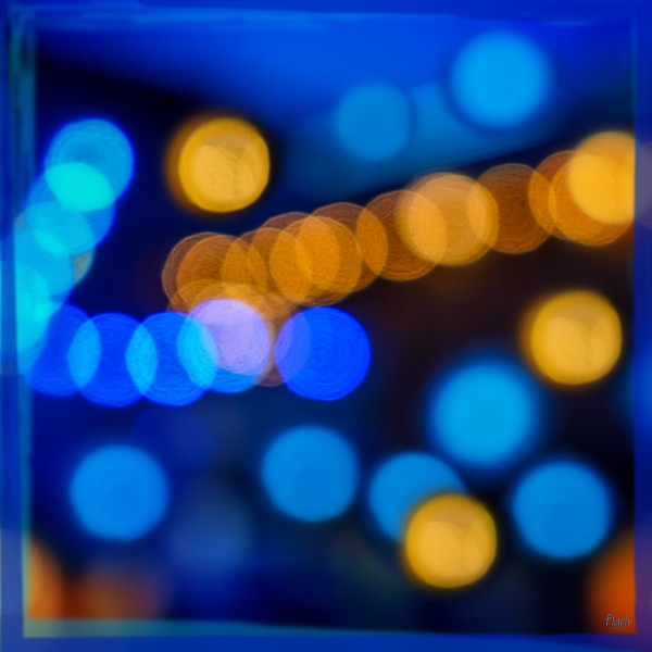 Yellow and blue blurry light Square Photomontage by Francois Lariviere