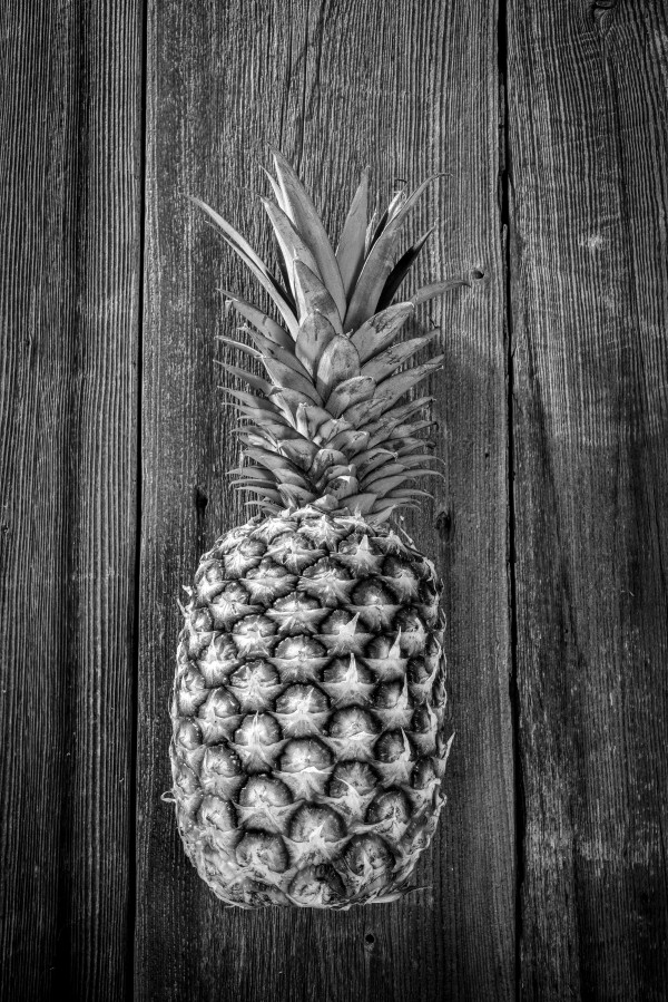 Big pineapple with its leaves on a barn wood board  black and white by Francois Lariviere