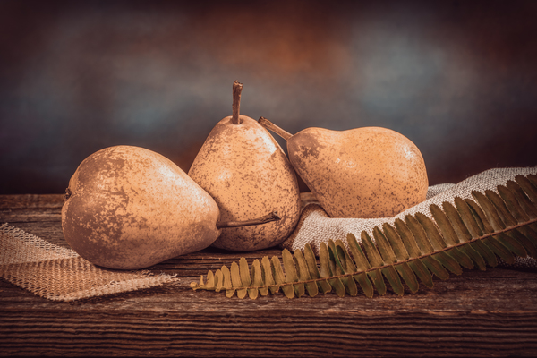 Three yellow pears and a fern on a barn wood table in front of a backdrop by Francois Lariviere