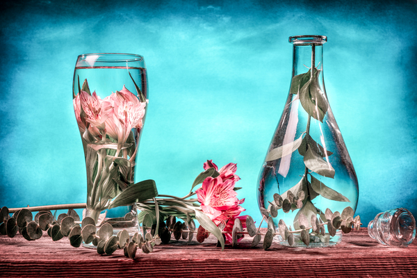Cut flowers and tropical plants in a glass of water on a barn wood table Filter effect pink and blue by Francois Lariviere