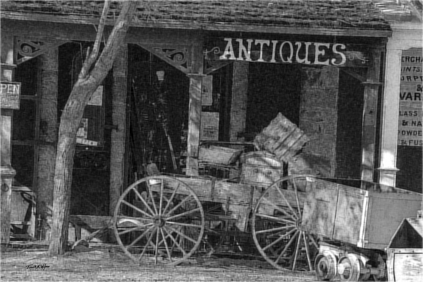 Antique Shop Engraving by Frank Wilson
