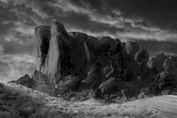 CrumblingSandstoneMonolithIndianPointBW2 by Frank Wilson
