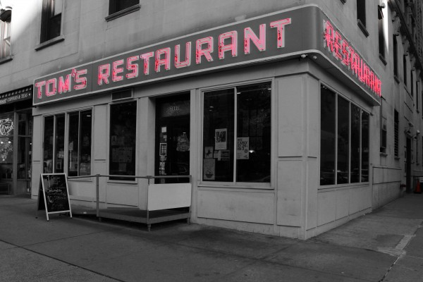 Toms Restaurant Black and White with colored sign by Irritated Eye