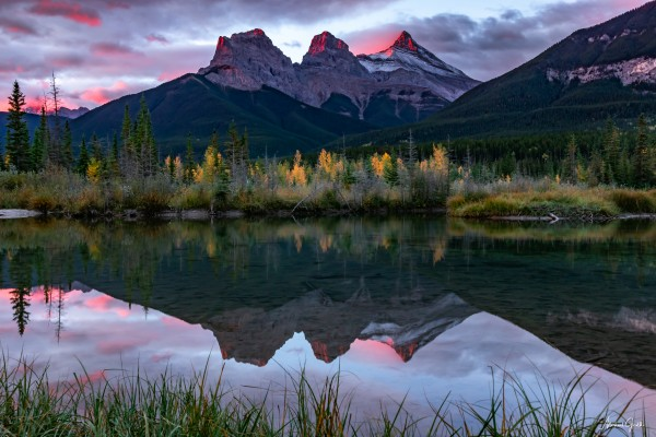 Three Sisters Fall Sunrise Canmore by Mike Gould Photoscapes