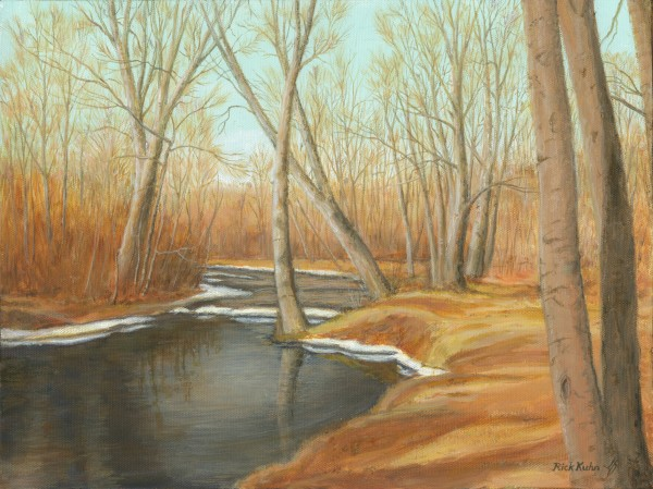 March Day Pohtatuck River - Newtown Scenes  12X16 by Rick Kuhn
