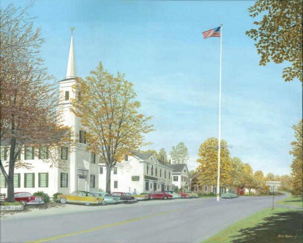October Sunday - Newtown Scenes 24X30   by Rick Kuhn