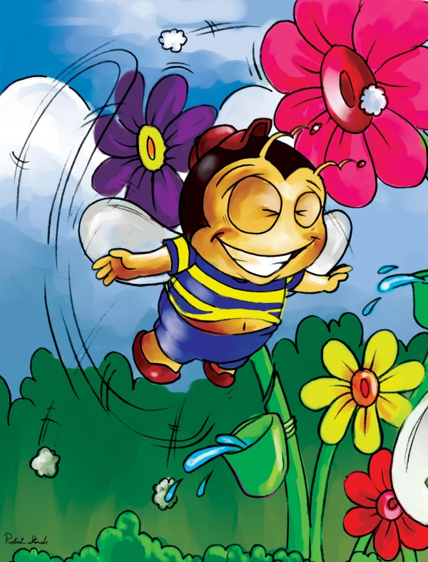 Happiness - Flower Power Buster Bee Digital Download