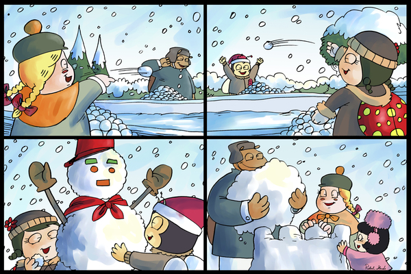 Winter Wonderland Fun   Snowballs  Snowforts and Snowman   4 panel Favorites for Kids Room and Nursery   Bugville Critters Digital Download