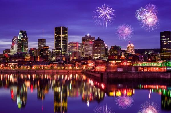 Montreal Skyline Fireworks by Telly Goumas