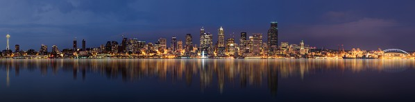 Seattle Skyline Panorama at Night by Wesley Allen Shaw