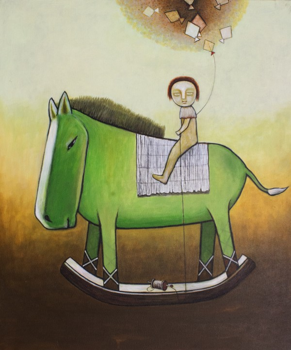 Child rides a green toy horse by carolenewmanarts