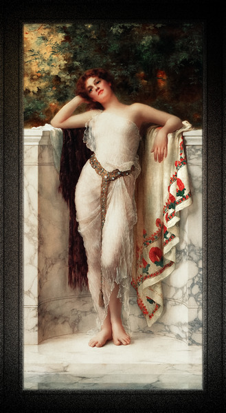 A Classical Beauty Lost In Thought by William Clarke Wontner Classical Fine Art Old Masters Reproduction by xzendor7