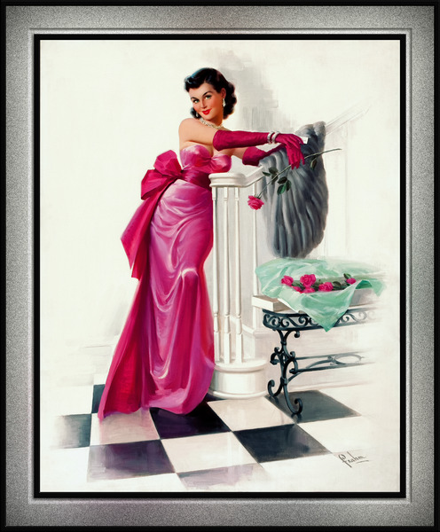 A Valentines Day Evening Rose by Art Frahm Glamour Pin-up Vintage Artwork by xzendor7