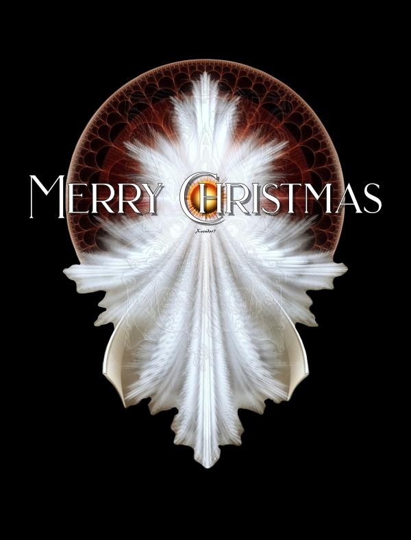 Angel Wings Snowflake Merry Christmas TW Fractal Art by xzendor7