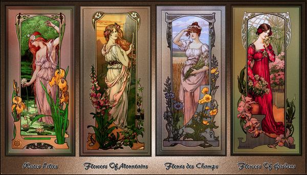 Art Nouveau Flower Series by Elisabeth Sonrel Vintage Artwork by xzendor7
