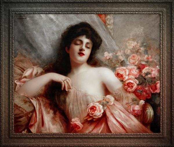 Belle Epoque Beauty Reclining On A Settee by Paul De La Boulaye Classical Fine Art Xzendor7 Old Masters Reproductions by xzendor7