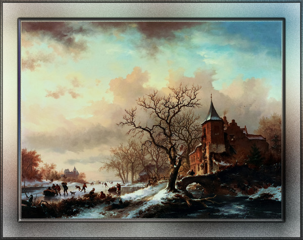 Castle Winter Landscape With Skaters On A Frozen River by Frederik Kruseman Old Masters Fine Art Reproduction by xzendor7