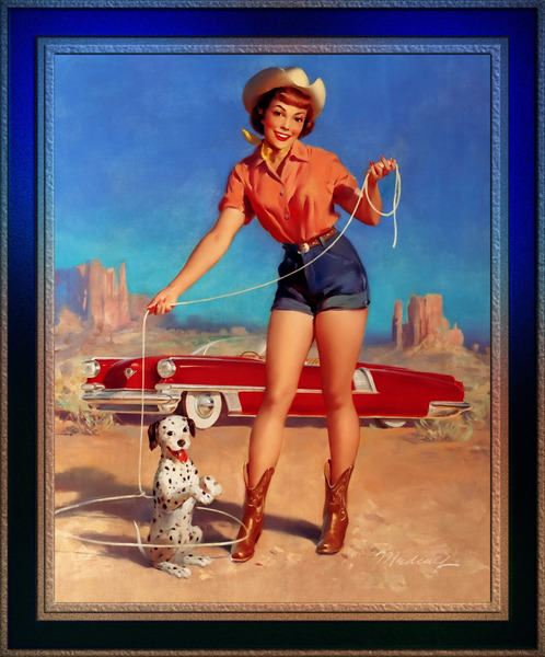 Cowgirl Pinup Girl Art by Bill Medcalf Vintage Art by xzendor7