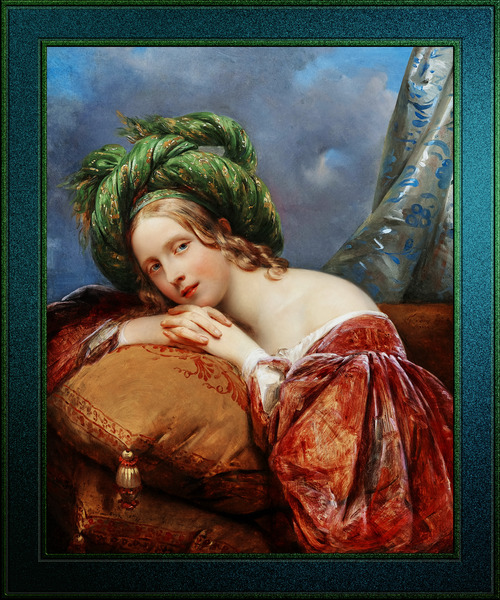 Dame Mit Grunem Turban by Aimee Pages-Brune Classical Fine Art Xzendor7 Old Masters Reproductions by xzendor7