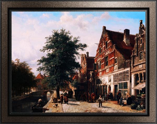 De Zuiderhavendijk in Enkhuizen by Cornelis Springer Classical Art Old Masters Reproduction by xzendor7