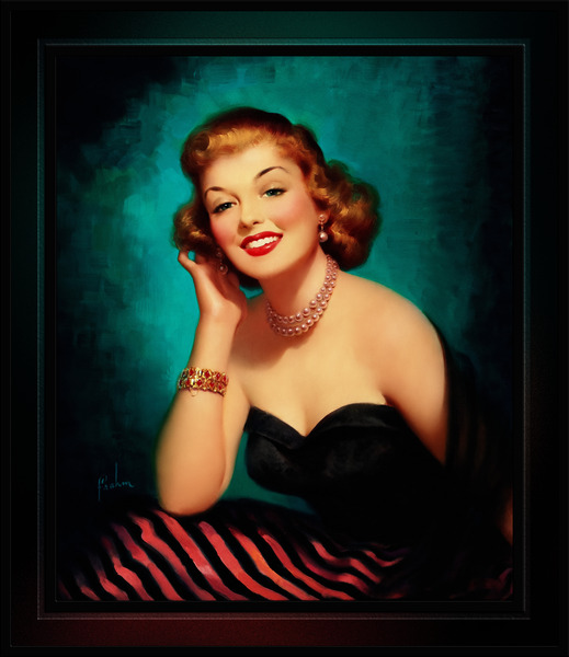 Evening Glamour Girl by Art Frahm Glamour Pin-up Vintage Art by xzendor7