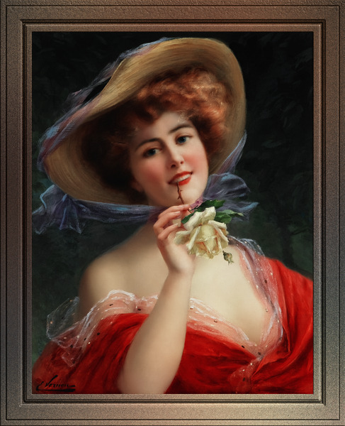 Fille A La Rose Jaune by Emile Vernon Wall Decor Xzendor7 Old Masters Art Reproductions by xzendor7