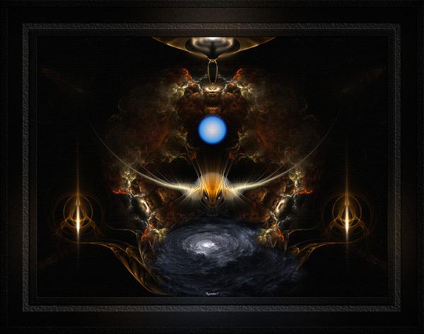The Golden Diamond Head Silver Moth Fractal Art Composition by xzendor7
