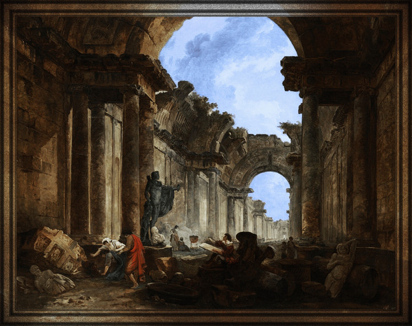 Imaginary View of the Grand Gallery of the Louvre in Ruins by Hubert Robert Old Masters Reproduction by xzendor7