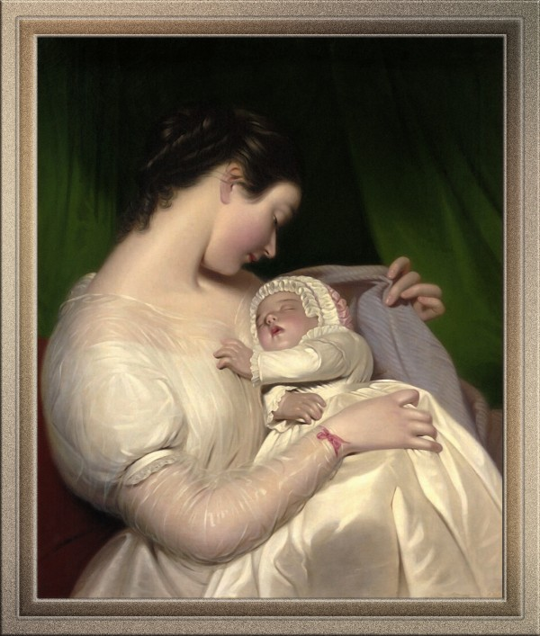 James Sants Wife Elizabeth With Their Daughter Mary Edith by James Sant Old Masters Reproduction by xzendor7