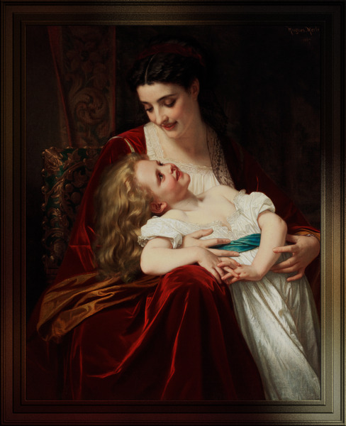 Maternal Affection by Hugues Merle Classical Art Old Masters Reproduction by xzendor7