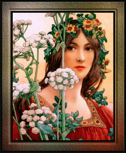 Our Lady of the Cow Parsley by Elisabeth Sonrel Wall Art Decor by xzendor7