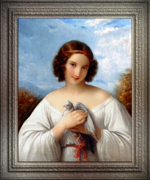 Portrait of a Young Girl with a Dove by Natale Schiavoni Fine Art Old Masters Reproduction by xzendor7